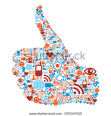 I like Social media icons hand isolated over white background. Vector file layered for easy manipulation and custom coloring.