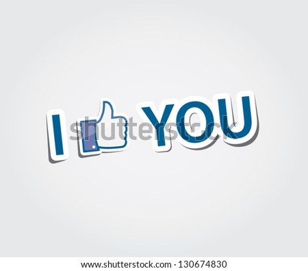 i like you text with thumb up