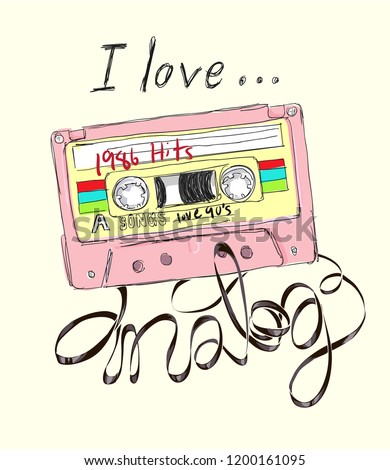 i love analog slogan with cassette tape illustration