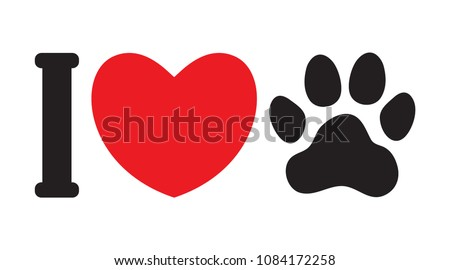I love animals (dogs). I love my pet. Symbolic inscription. Icon. Vector illustration.