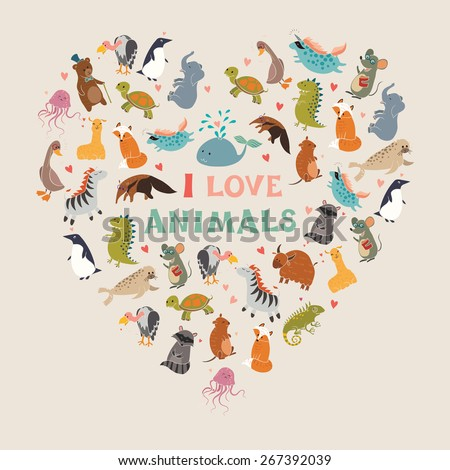 i love animals  heart  vector