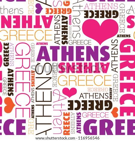 i love athens greece seamless