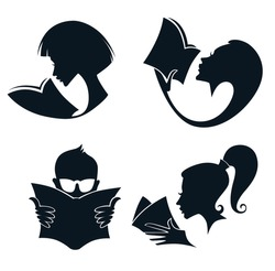 I love books%literature, reading and poetry, vector collection of symbols and icons