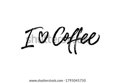 i love coffee black vector
