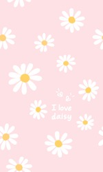 I love daisy hand writing and daisy flower on pink background vector illustration.