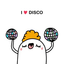 I love disco hand drawn vector illustration in cartoon comic style pop music party man holding mirror balls