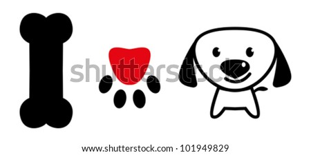 I love dog message showing bone, pup paw with love symbol and a cute puppy