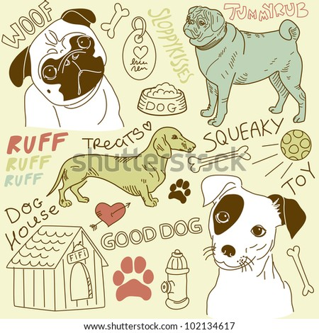 I love Dogs! vector doodles set