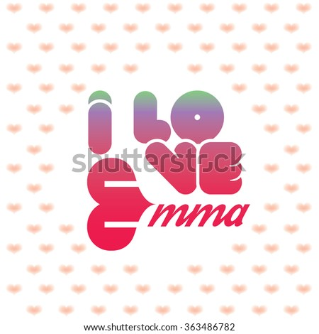 i love emma greeting card with