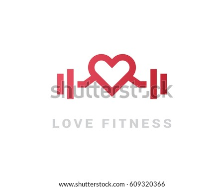 I love fitness. Vector logo monogram of hearts and barbells