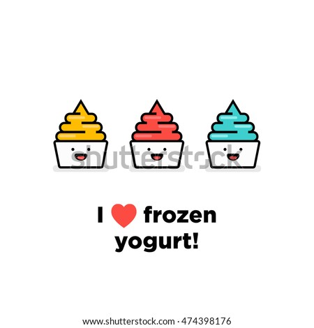I Love Heart Frozen Yogurt! (Frozen Yogurt With Smiley Face Line Art in Flat Style Vector Illustration Icon and Quote Poster Design)