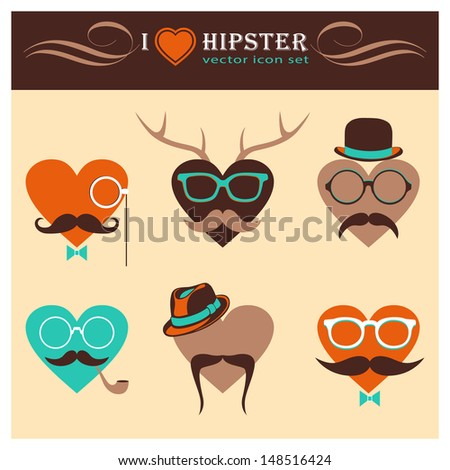 I Love Hipster background Vector Heart Icon Set with Hipster Elements