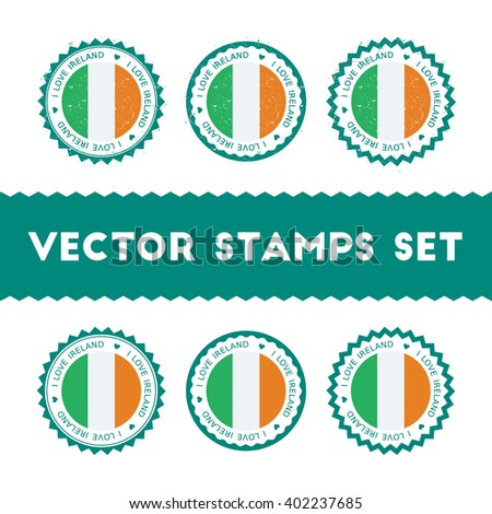 i love ireland vector stamps