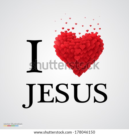 i love Jesus, font type with heart sign.