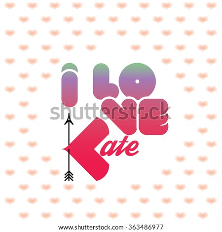 i love kate greeting card with