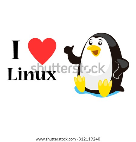 i love linux concept  vector