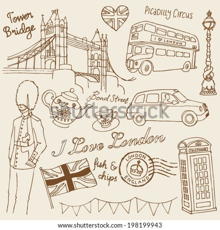 vector and i love london icons doodle set