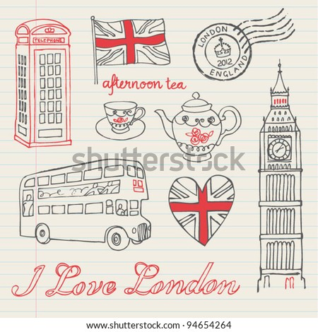 I love London icons doodles drawing background set