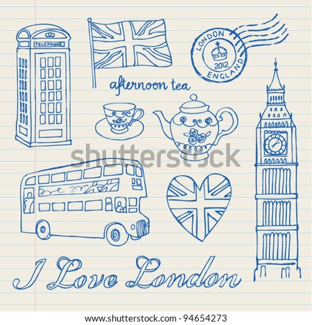 I love London icons set doodles drawings background