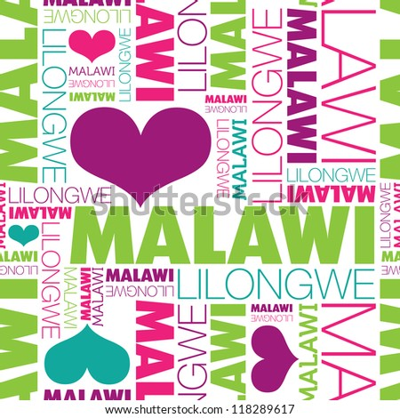 I love Malawi Lilongwe seamless typography background pattern in vector