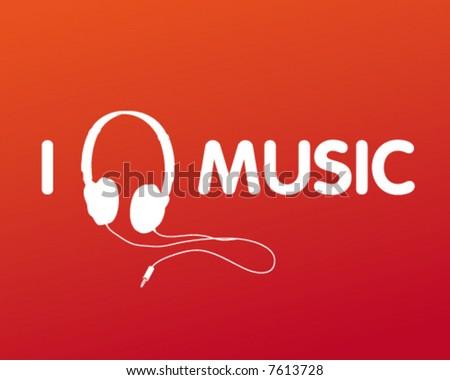 stock vector : I Love Music Headphone