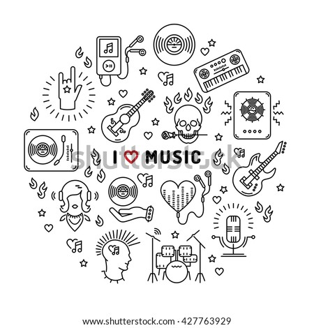 I love music - inspiring quote, line art icons, circle infographic.
