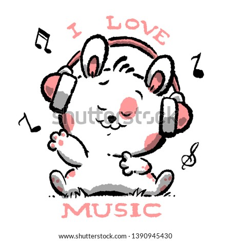 i love music slogan cute animal