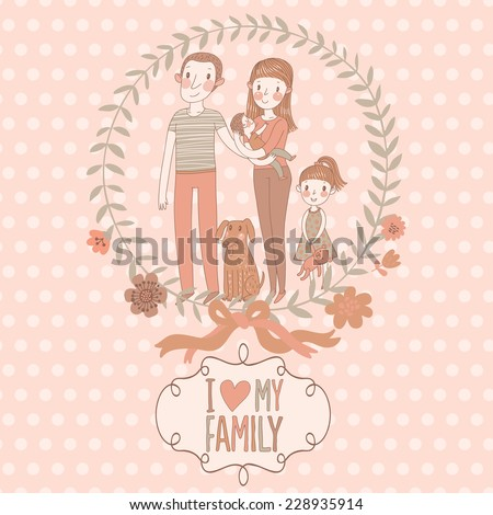 i love my family   cute vector