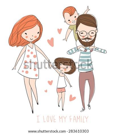 i love my family cute vector