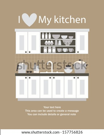I love my kitchen card design vector illustration