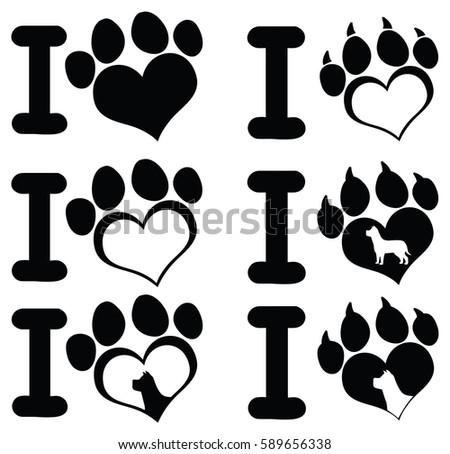 i love paw print logo design 02