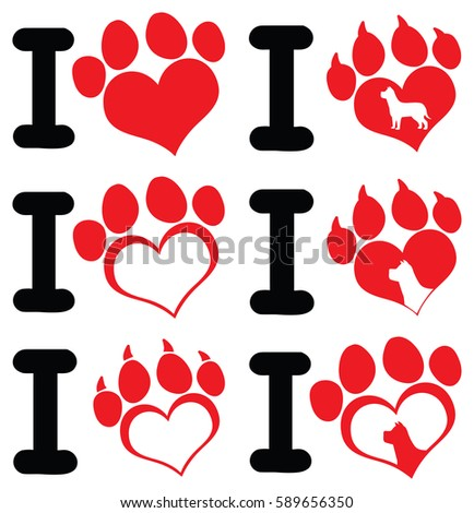 i love paw print logo design 01