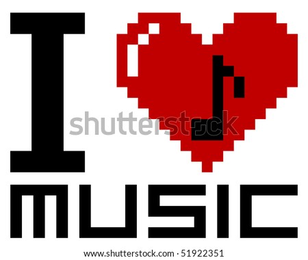 I Love pixel music - vector