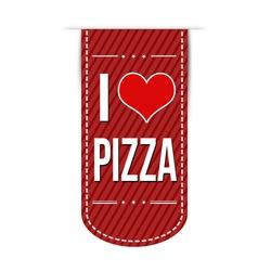 I love pizza banner design over a white background