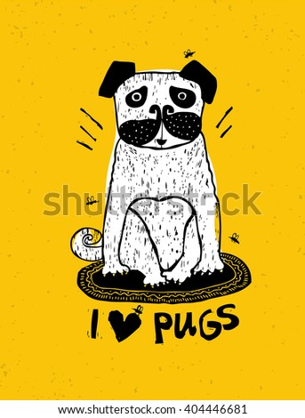 i love pugs creative vector