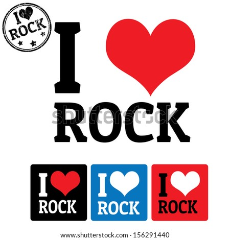 i love rock sign and labels on
