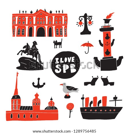 I love Saint Petersburg. Hand drawn illustration of different symbols and landmarks of saint petersburg. Vector design.