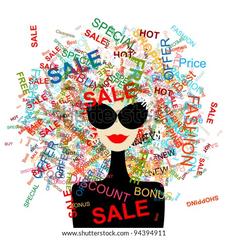 I love sale! Fashion woman with shopping concept for your design - stock vector