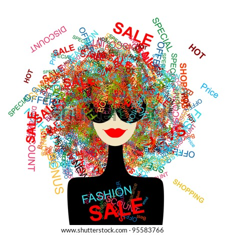 Shutterstock I love sale! Fashion woman with shopping concept for your design
