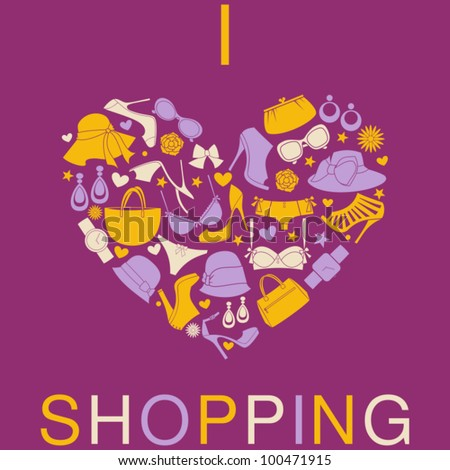 I Love Shopping icon, the heart is made from different female fashion accessories.