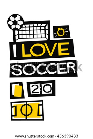 i love soccer   flat style