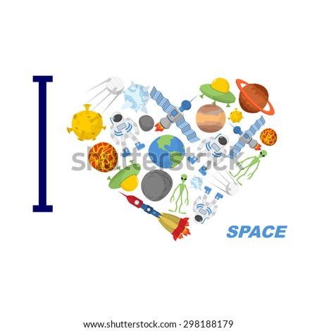 i love space heart symbol of