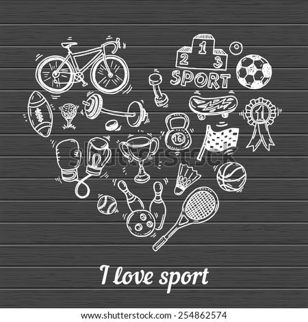 I love sport, hand drawn doodle set