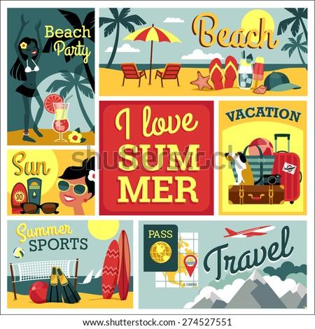 i love summer vector modern