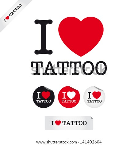 i love tattoo  font type with
