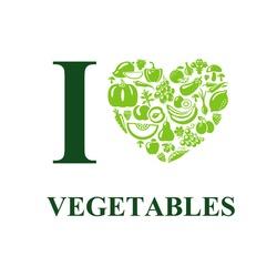 I love vegetables concept. Vegetarian food heart shape.