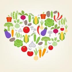 I love Vegetables. Vector vegetables illustration in heart shape with peas, beet, pepper, cucumber, kohlrabi, corn, garlic, broccoli, potato, chili, onion, tomato, mushroom, eggplant, cabbage, carrot.