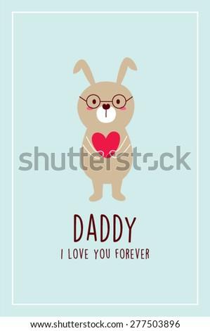 i love you bunny daddy vector