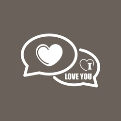 I Love You Comments Icon on Dark Gray Color. Eps-10.