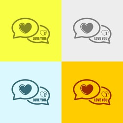 I Love You Comments Icon on Four Different Backgrounds. Eps-10.